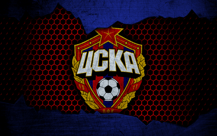 Download Wallpapers CSKA Moscow, 4k, Logo, Russian Premier