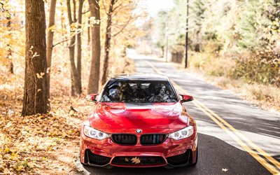 BMW M4, 2018, front view, red M4, German cars, F82, BMW
