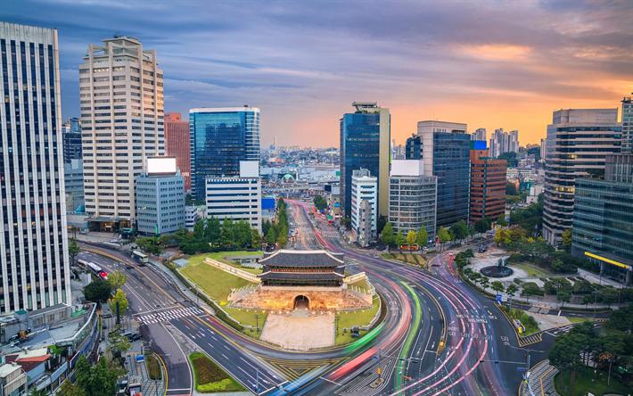 Scarica sfondi seoul grattacieli tramonto edifici for Casa moderna corea