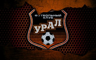 Ural, 4k, logo, Russian Premier League, soccer, football club, Russia, grunge, metal texture, Ural FC