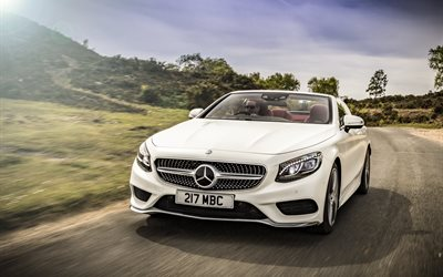 Mercedes-Benz S-class, 2017, Cabriolet, AMG line, 4k, white convertible, luxury cars, front view, German cars, white S-class, Mercedes