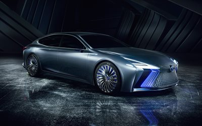 Lexus LS+ Concept, 2018, front view, futuristic design, luxury sedan, new cars, Japanese cars, Lexus