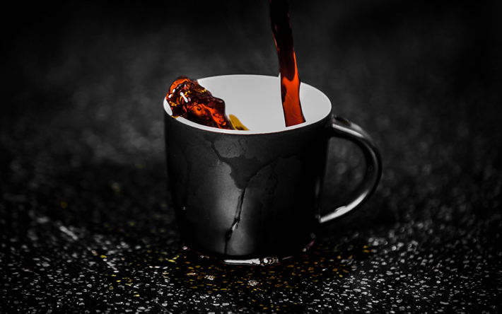 cup of coffee, spray, coffee, close-up, morning, cup