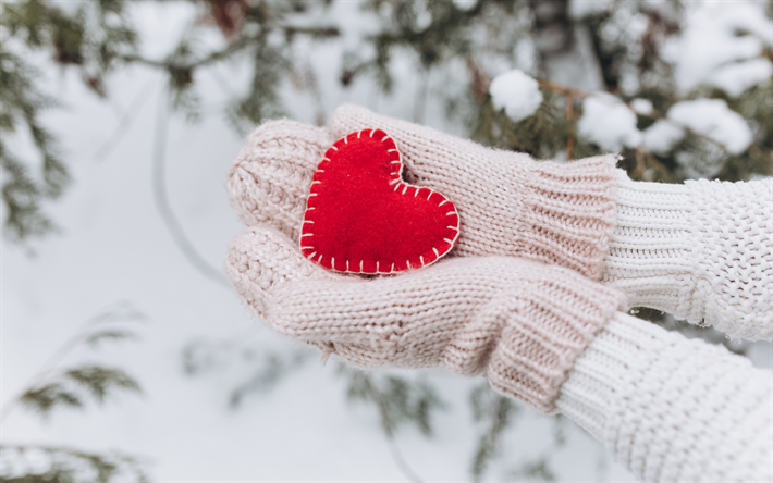 red heart in hands, winter, snow, heart, love concepts, white mittens