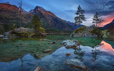 mountain lake, sunset, forest, mountain, Hintersee, Bavaria, Germany