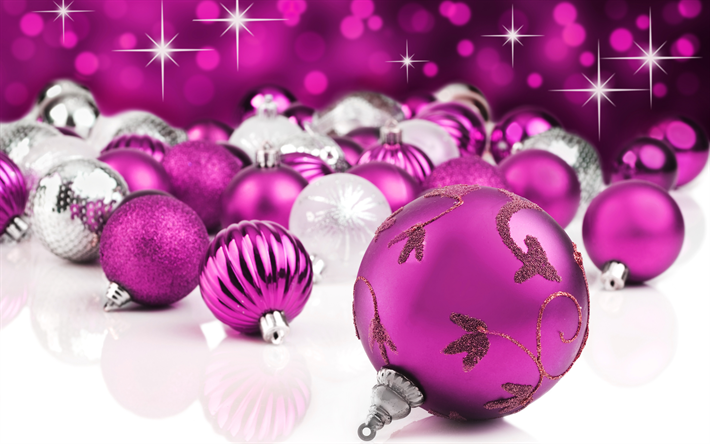 Purple Christmas Balls 4k New Year 2018 Concepts
