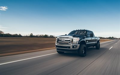 4k, Ford F-250 Super Duty, movimento, 2018 auto, pick-up, Suv, auto americane, camion, Ford