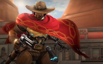 Mccree, 4k, cowbay, des armes, des canons, Overwatch