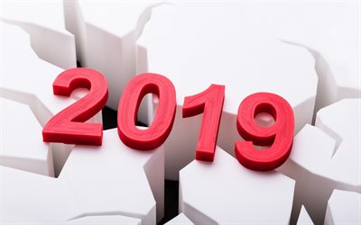 2019 Year, red 3d letters, rendering, 2019 concepts, New 2019 Year, 3d art