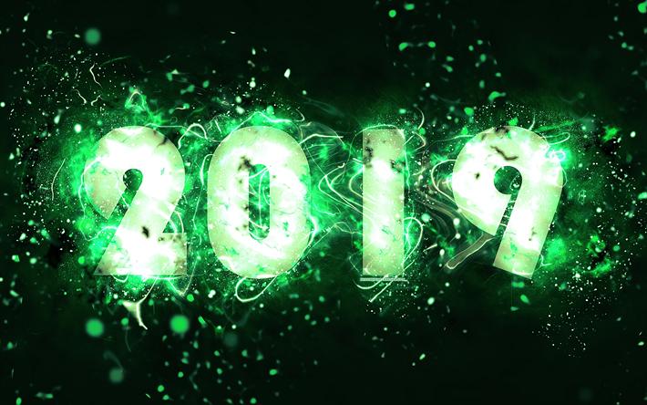 Scarica Sfondi 4k 2019 Anno Sfondo Verde Luci Al Neon Astratto