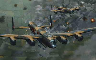 Avro Lancaster, British strategic bomber, ww2, RAF, World War II, British military aircraft