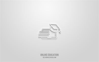 Online Education 3d icon, white background, 3d symbols, Online Education, Education icons, 3d icons, Online Education sign, Science 3d icons