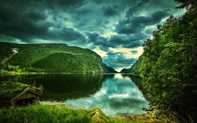 Rogaland, 4k, summer, mountains, lake, forest, HDR, Norway, beautiful nature, Europe