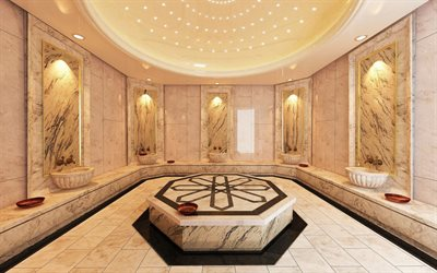 Turkish bath, marble white walls, bathroom, Turkish Hamam, bathroom project
