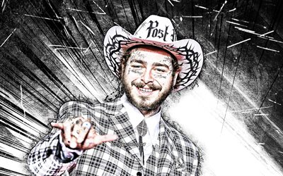 4k, Post Malone, raggi astratti bianchi, rapper americano, star della musica, Austin Richard Post, arte grunge, celebrità americana, superstar, Post Malone 4K