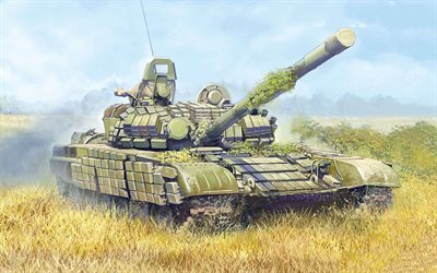 T-72, Russian battle tank, painted tank, armored vehicles, tanks