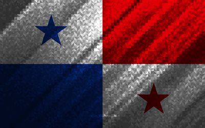 Flag of Panama, multicolored abstraction, Panama mosaic flag, Panama, mosaic art, Panama flag