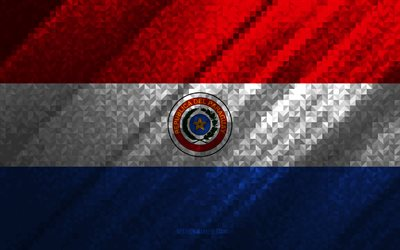 Flag of Paraguay, multicolored abstraction, Paraguay mosaic flag, Panama, mosaic art, Paraguay flag