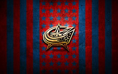 Columbus Blue Jackets bandiera, NHL, sfondo blu rosso metallico, squadra di hockey americano, logo Columbus Blue Jackets, USA, hockey, logo dorato, Columbus Blue Jackets