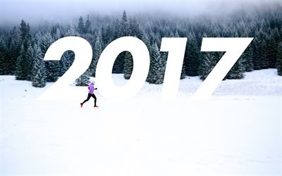 New Year, 2017, winter, forest, athlete