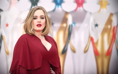 Adele, British singer, red dress, beautiful woman, Laurie Blue Adkins