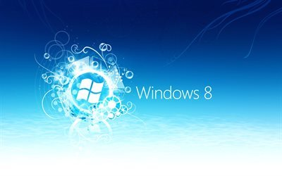 Windows 8, logo, emblem, blue logo Windows