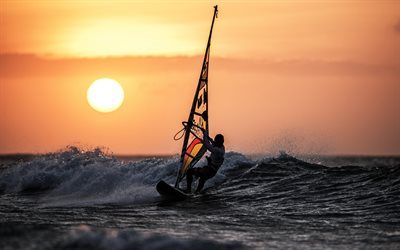 surfing, waves, sunset, sea, extreme sports