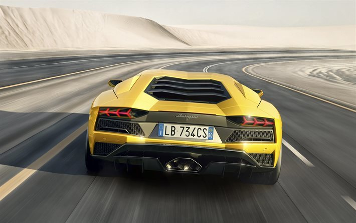 Lamborghini Aventador S, 2017, rear view, road, speed, yellow Aventador