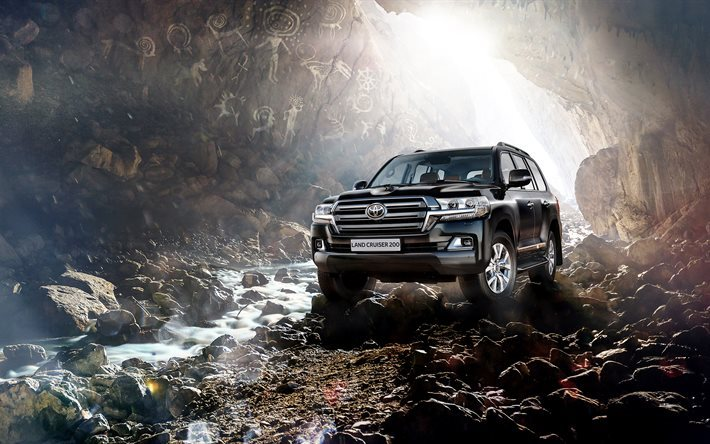 Toyota Land Cruiser 200, 4k, 2016 cars, SUV, offroad, luxury cars, black Toyota