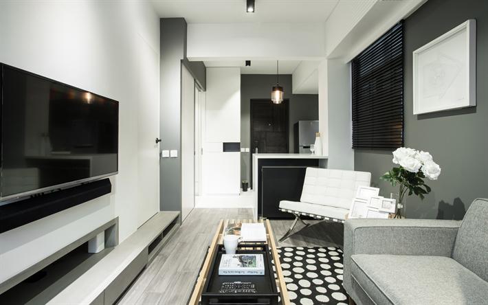 4k  , Wohn  , Weiß Und Grau Innenraum, Moderne Wohnung,