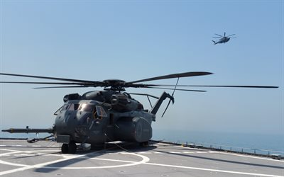 Sikorsky CH-53 Sea Stallion, heavy transport helicopter, military helicopters, US Navy, US, aircraft carrier