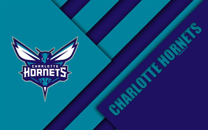 Charlotte Hornets 4k Logo Material Design American Basketball Club Blue Abstraction