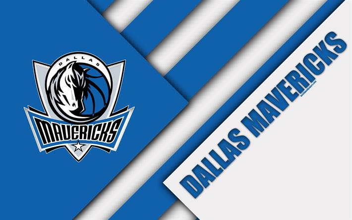 Dallas Mavericks 4k Logo Material Design American Basketball Club White Blue