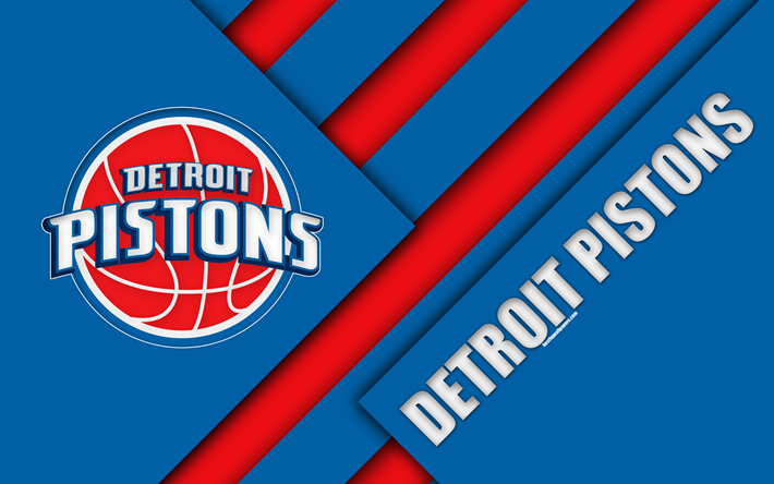 American Sports Material Wallpapers: Download Wallpapers Detroit Pistons, 4k, Logo, Material