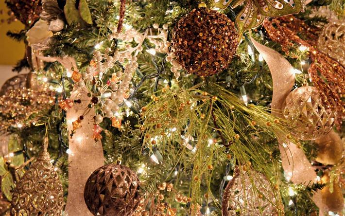 New Year, 2018, lanterns, decorations, Christmas brown balls