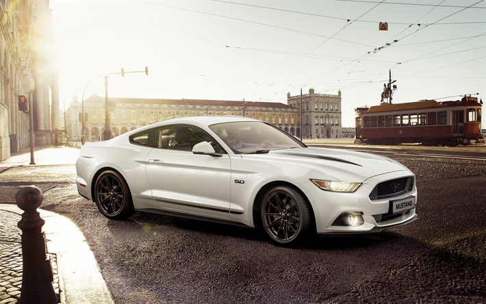 Download wallpapers Ford Mustang Gt, 2018, white sports ...