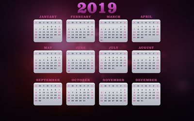 Calendar 2019, purple background, all months of 2019, Calendar for 2019, creative art