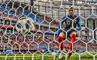 Kylian Mbappe, HDR, FIFA Coupe du Monde 2018, le but, la FFF, en français, les footballeurs, filet de football, match, la France, l'Équipe Nationale, Mbappe, de soccer, de football, club de football français