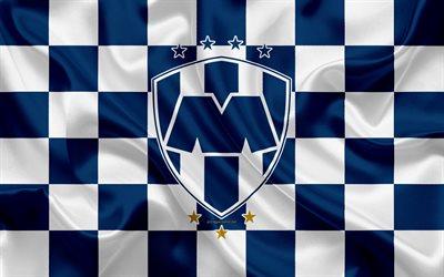 Download Wallpapers Monterrey Logo Creative Art Blue White Checkered Flag Mexican