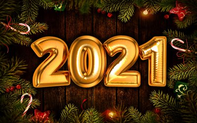 Happy New Year 2021, christmas tree frame, 4k, 2021 golden digits, 2021 concepts, 2021 on wooden background, 2021 year digits, golden balloons, 2021 New Year