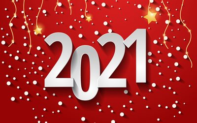 Happy New Year 2021, 4k, Red 2021 background, 2021 New Year, red background with stars, 2021 concepts