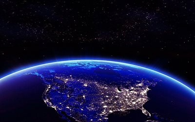 USA from space, USA city lights, USA at night from space, North America, USA, USA at night, view from space