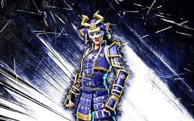 4k, Hime Skin, grunge art, 2020 games, Fortnite Battle Royale, blue abstract rays, Fortnite characters, Hime, Fortnite, Hime Fortnite