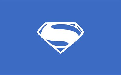 4k, Superman logo, minimal, superheroes, blue backgrounds, creative, artwork, Superman