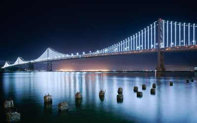 Pont de la baie de San Francisco-Oakland Bay Bridge, San Francisco Bay, nuit, pont suspendu, Californie, états-unis