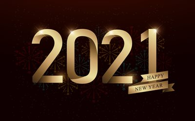 2021 New Year, 4k, golden letters, Happy New Year 2021, 2021 Golden background, 2021 concepts, 2021 fireworks background