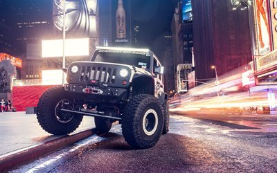 Jeep Wrangler, SUVs, road, traffic lights, night, supercharged, Jeep