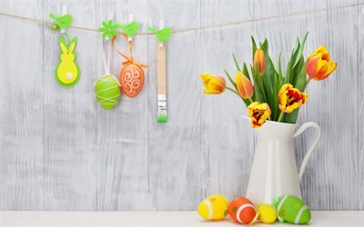 Easter, Easter decoration, tulips, spring bouquet, easter eggs