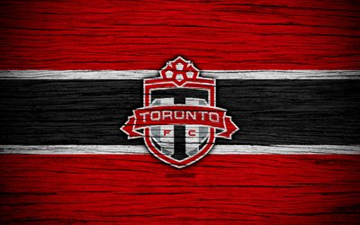Toronto FC, 4k, MLS, wooden texture, Eastern Conference, football club, Canada, Toronto, soccer, logo, FC Toronto