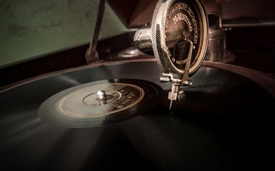 gramophone, vinyl records, old music player, retro things, music